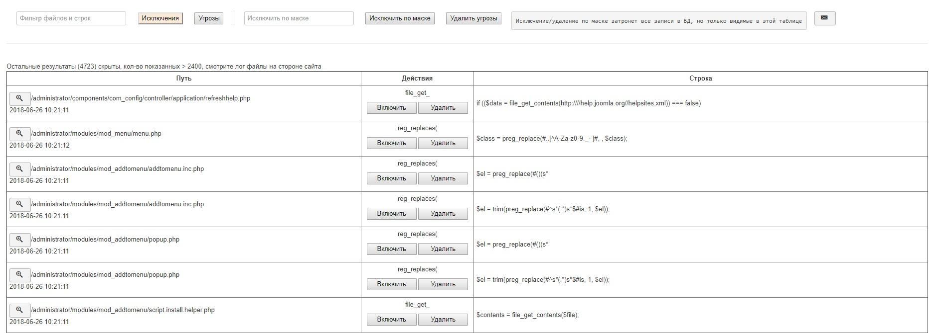 Список найденных угроз(функций)