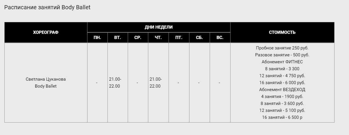 Расписание занятий по стилю